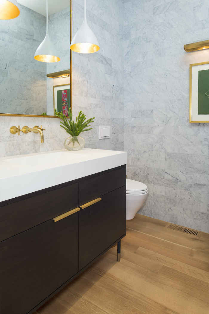 Powder Bathroom With Soft Gray Tiled Walls