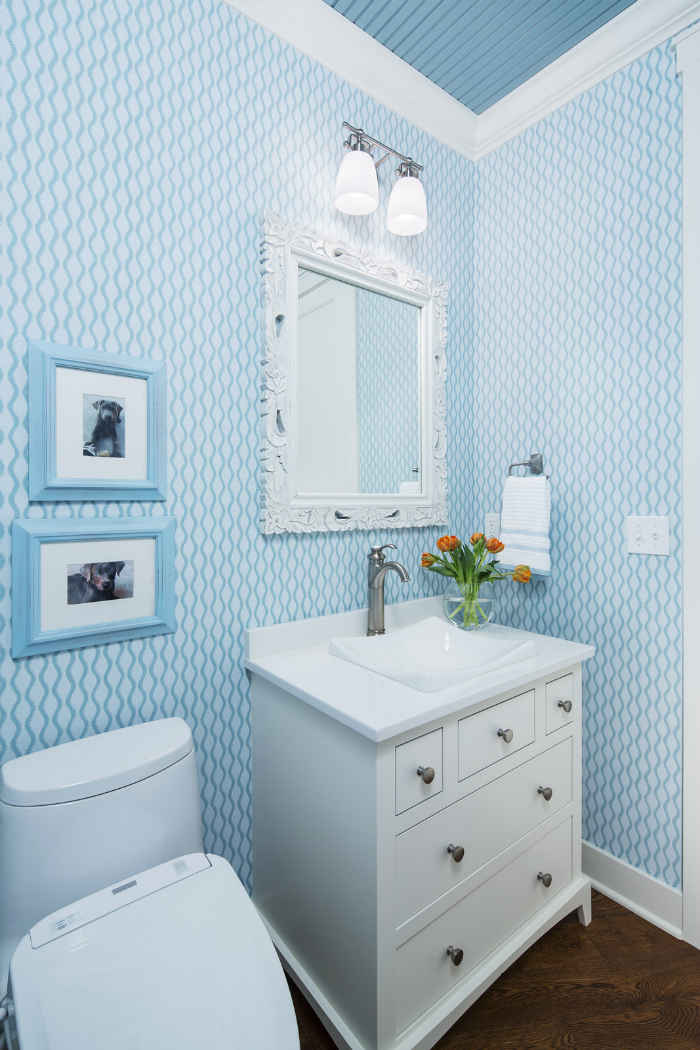Powder Room With Blue Wallpaper