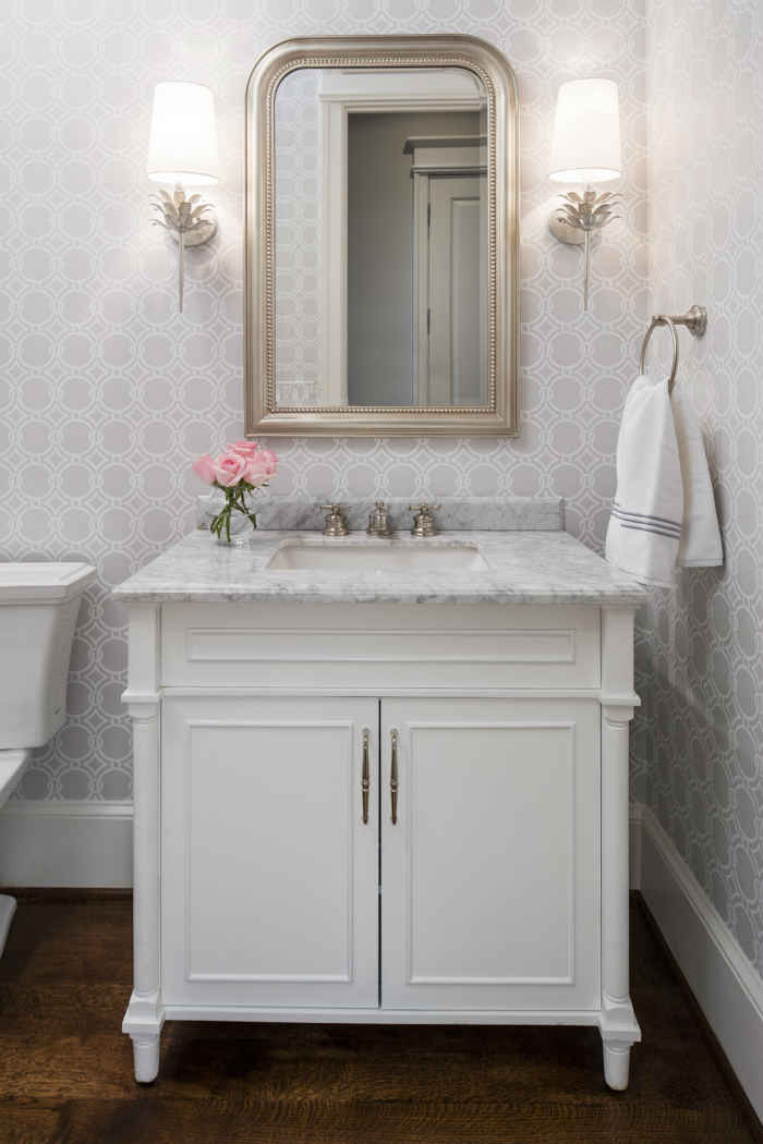 Powder Room With Pale Gray Wallpaper