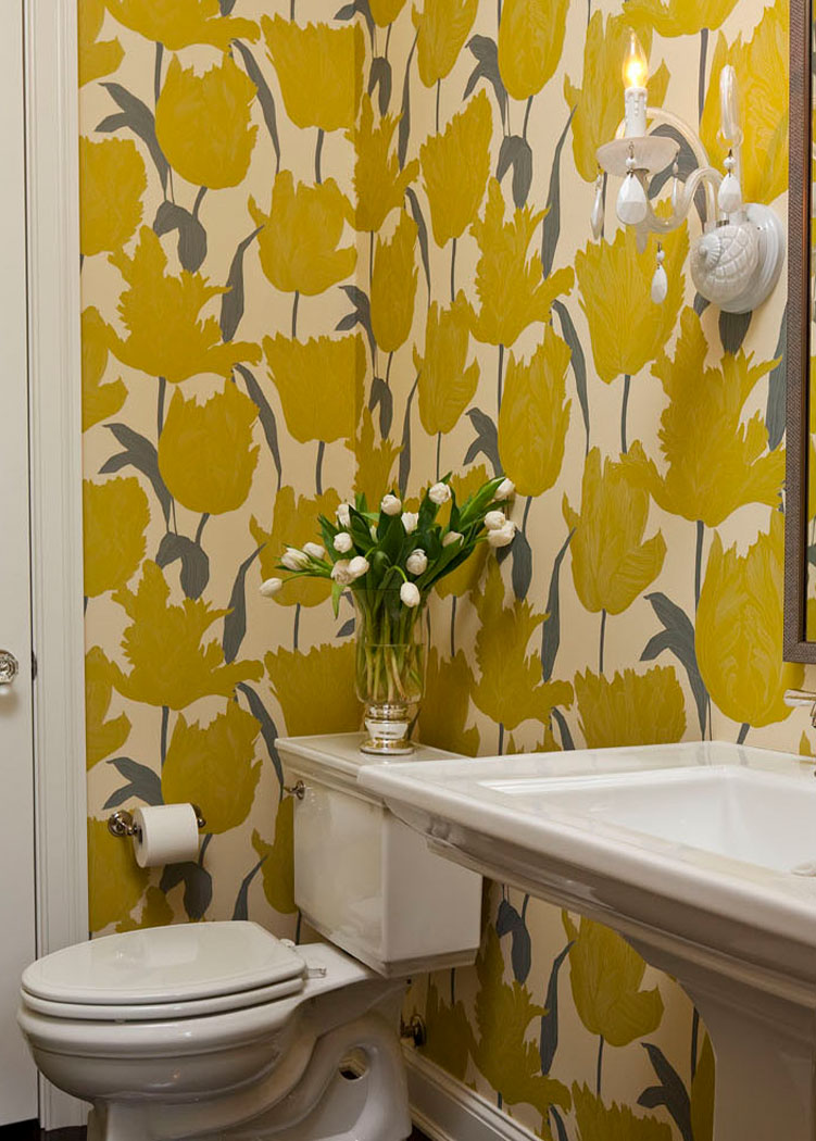 Powder Room With Yellow Floral Wallpaper
