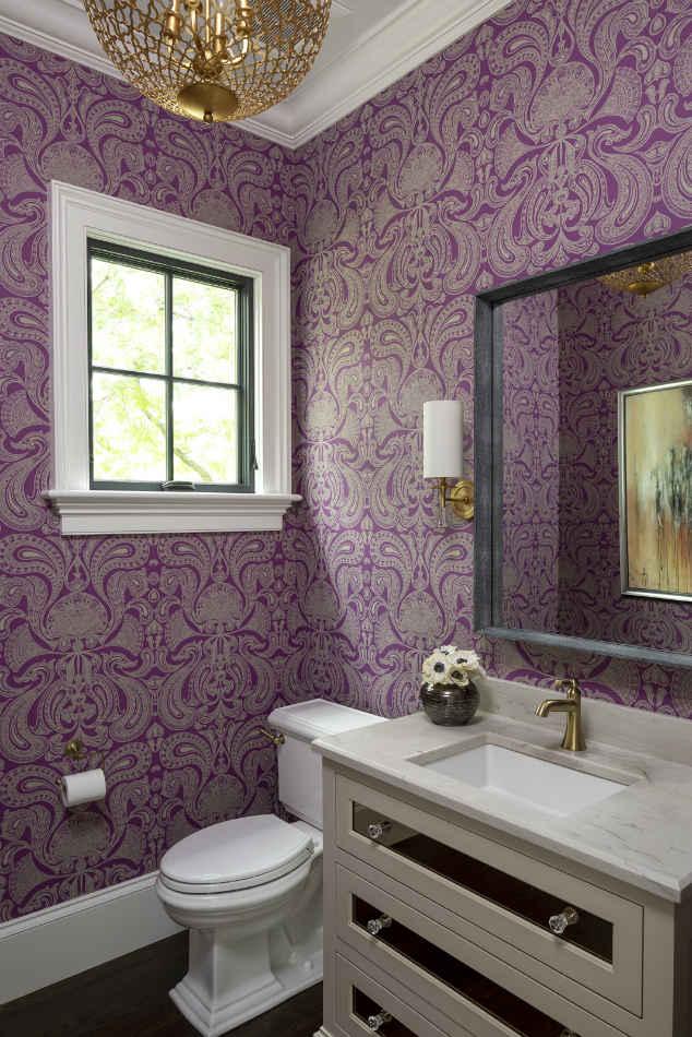 Purple Wallpaper Powder Room With Marble Vanity Sink