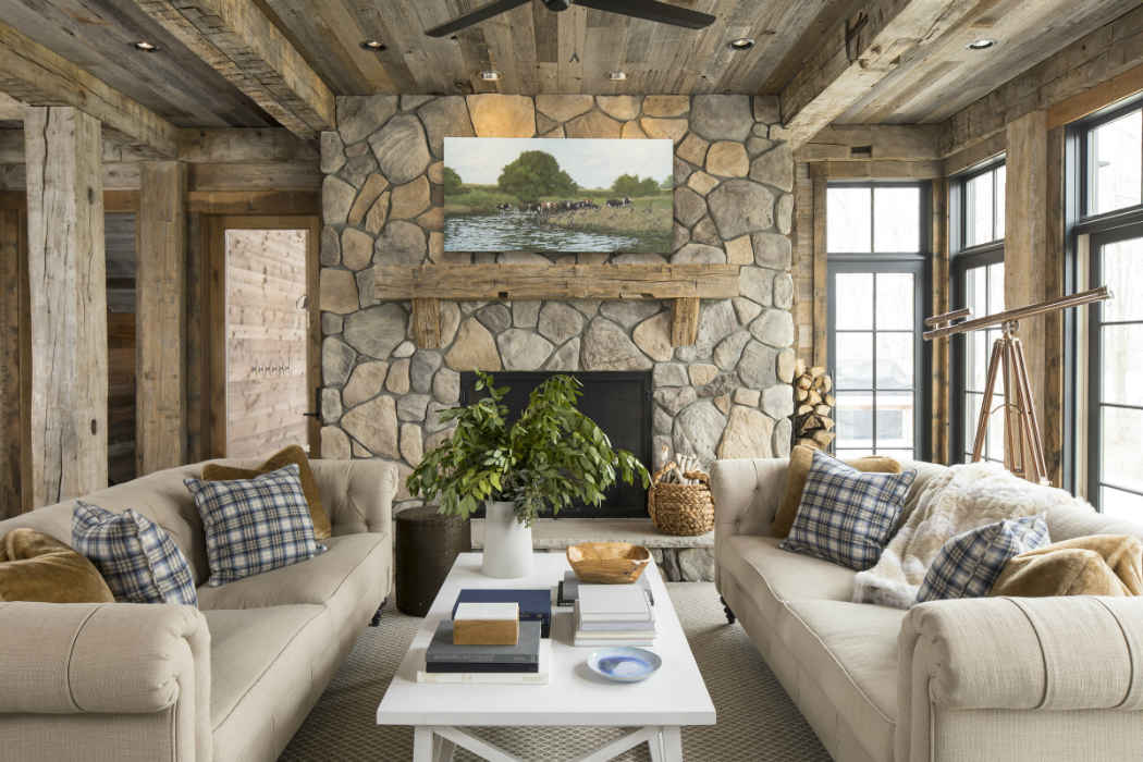 Rustic Living Room Interior Design Woodland Shores Wi