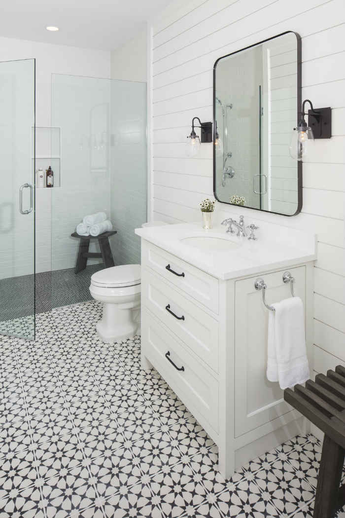 Shiplap Bathroom With Black And White Tile