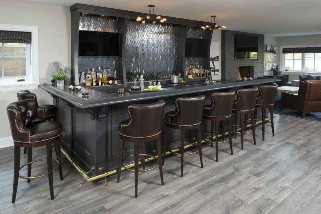 Sleek Black Bar Interior Design