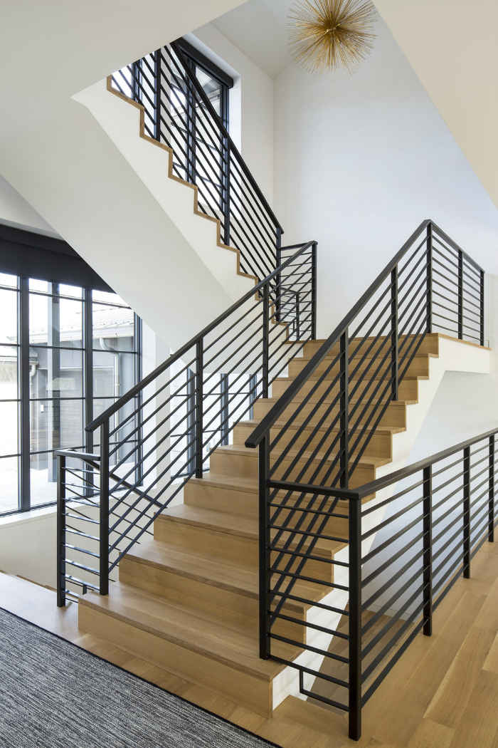 Stairway With Black Metal Railing