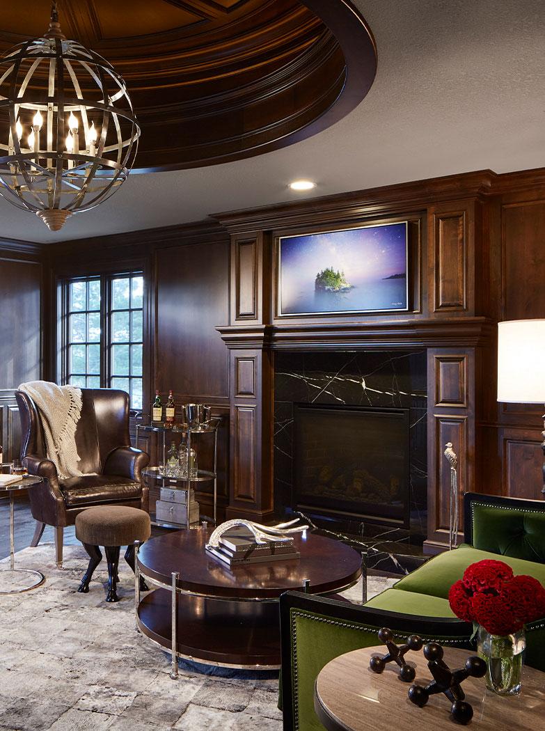 Study With Black Marble Fireplace Interior Design Lake Vermillion Mn