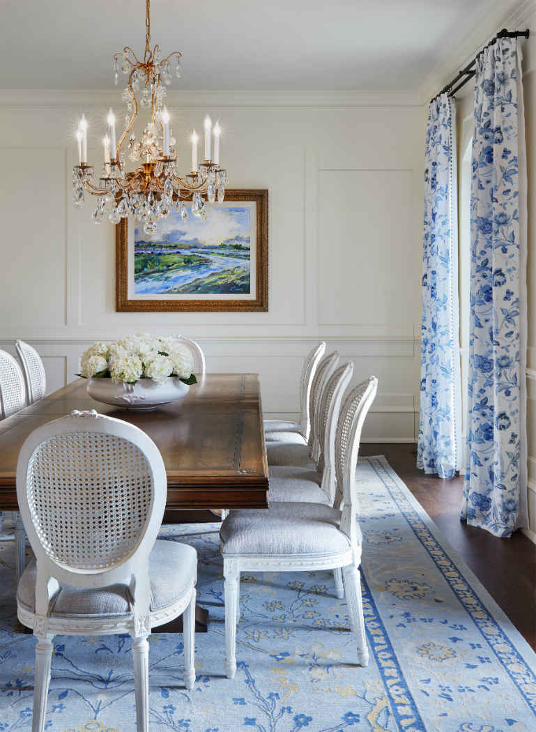 White Formal Dining Room With Powder Blue Area Rug