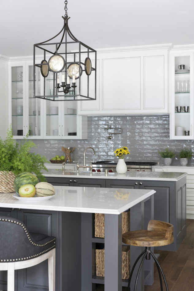 White Kitchen Design With Gray Backsplash