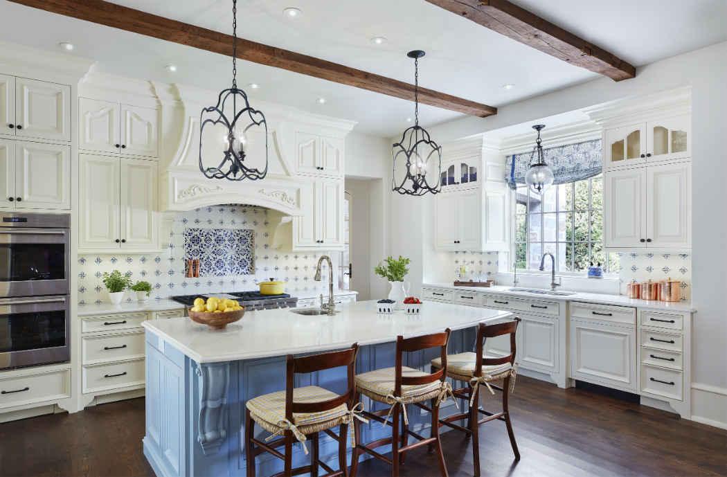 White Kitchen Design With Powder Blue Island