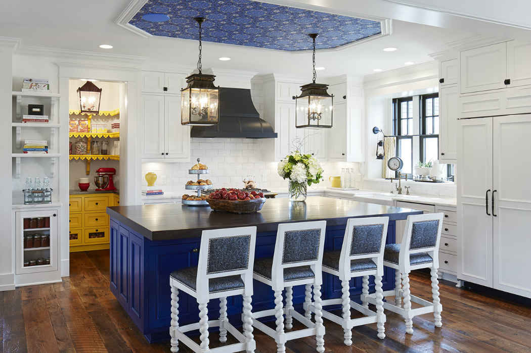 White Kitchen With Royal Blue Island