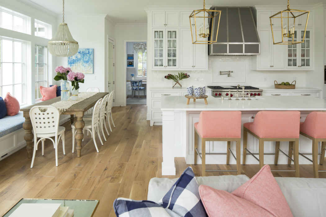 White Kitchen With Salmon Color Accents