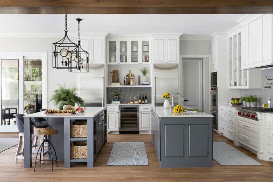 White Kitchen With Two Island Interior Design