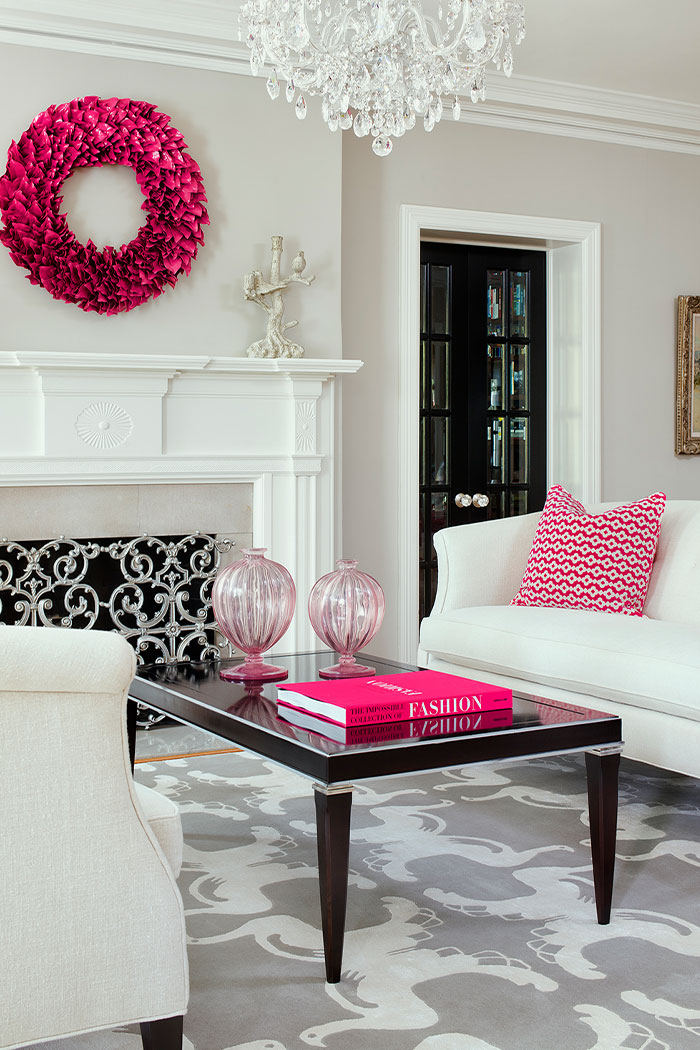 White Living Room With Pink Accents