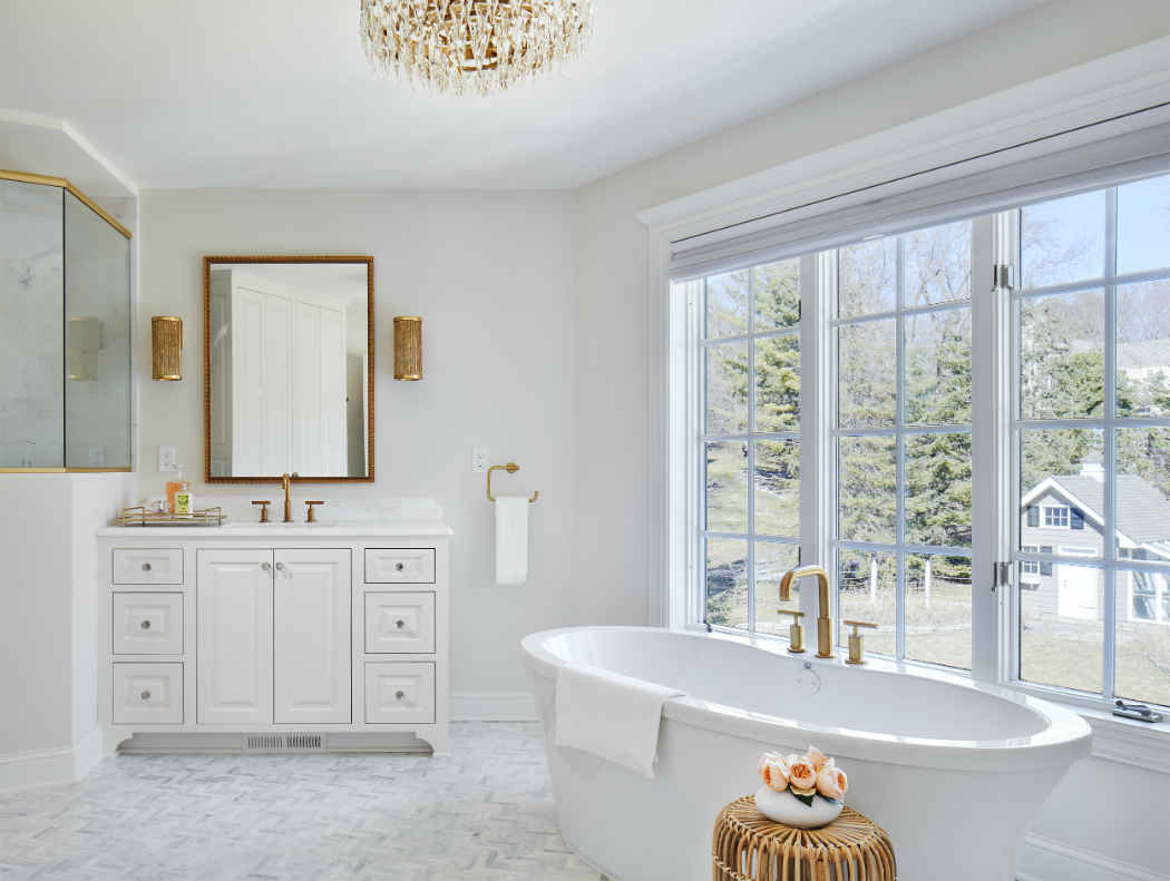 White Master Bathroom Design