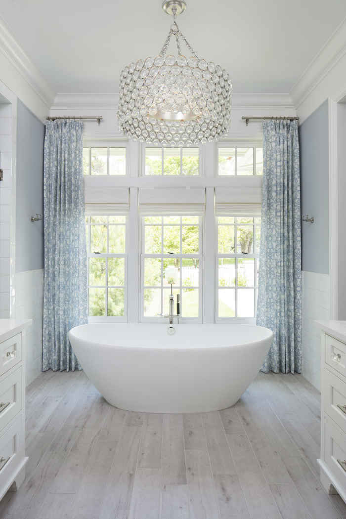 White Master Bathroom With Large Tub