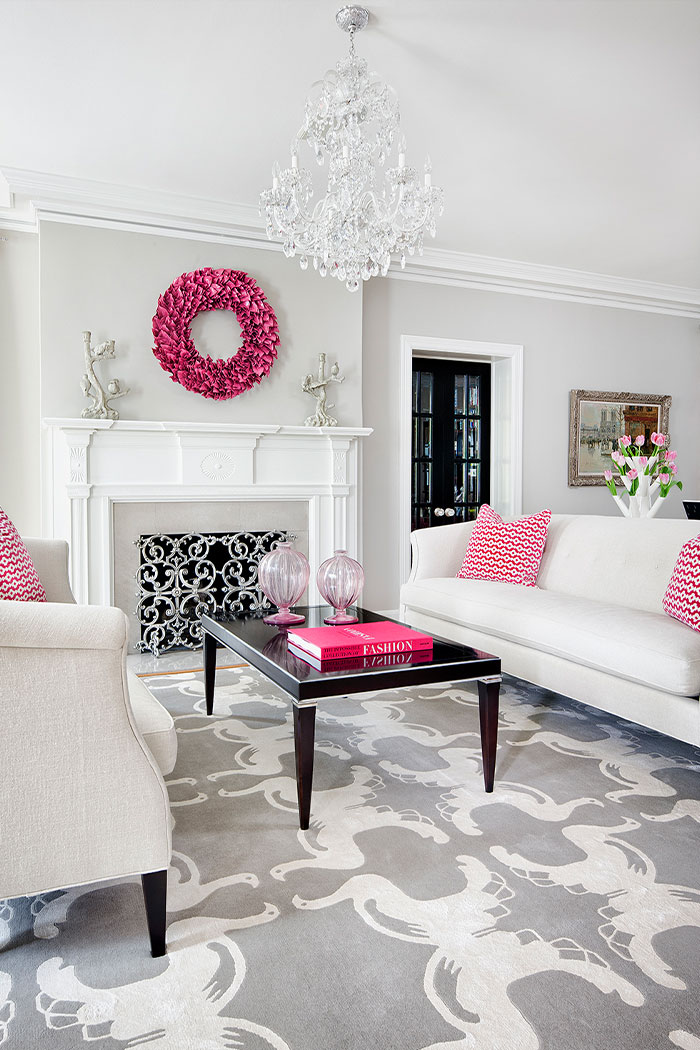 White Sofas With Pink Accent Pillows