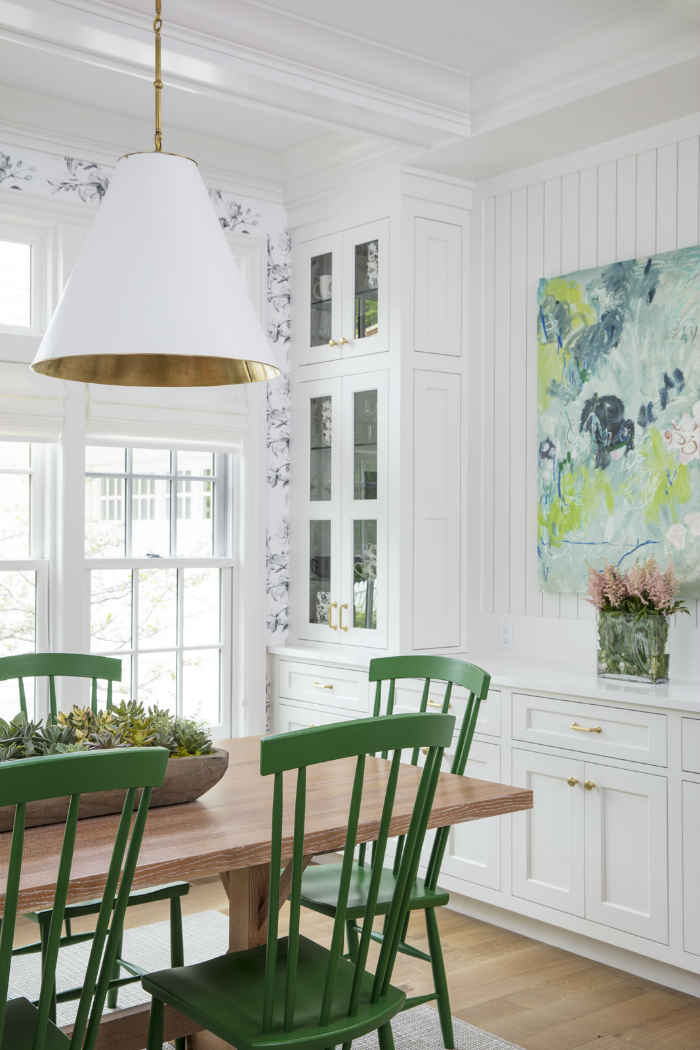 Wooden Dining Table With Green Chairs