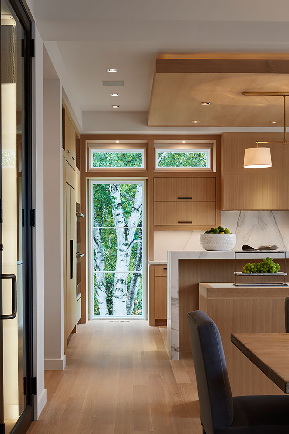 Wooden Kitchen With Waterfall Island