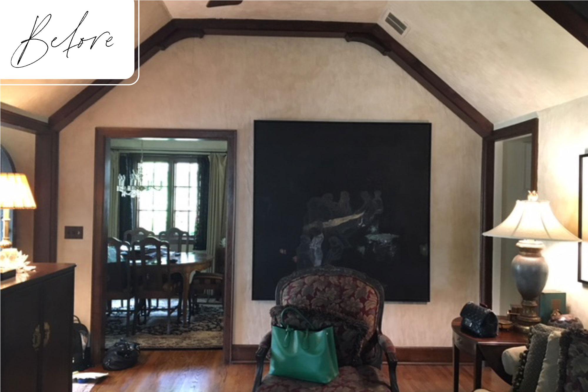 2 Before Tudor Revival Remodel Living Room