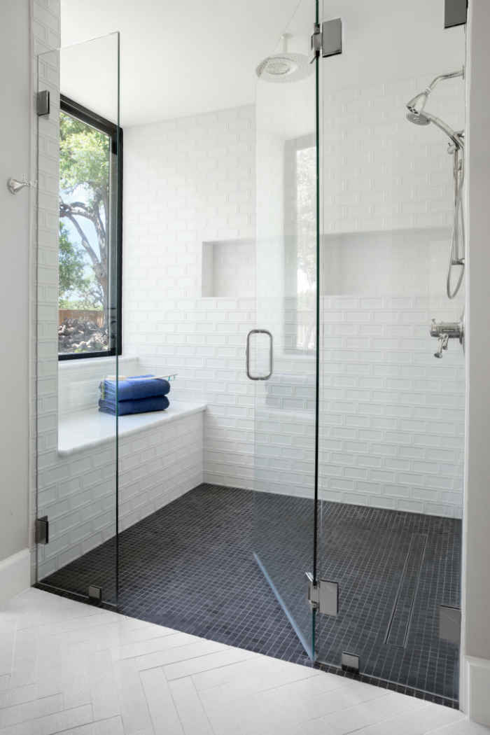 Beautiful White Master Bathroom With Walk In Shower