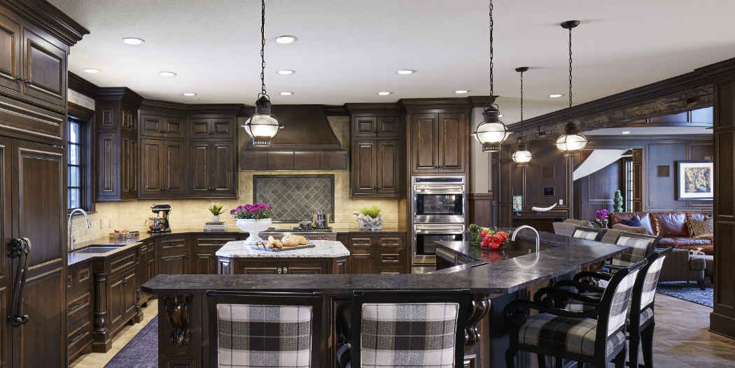 Dark Wood Kitchen With Large Island