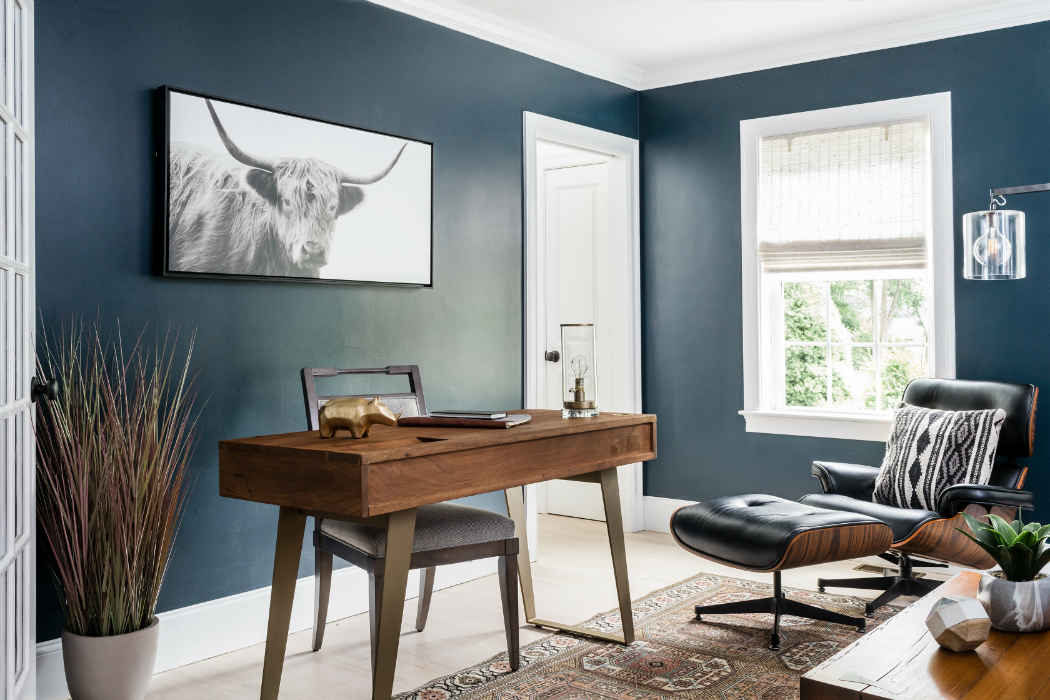Deep Blue Office With Wooden Accents