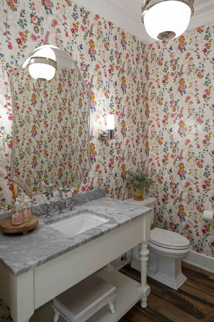 Floral Wallpaper Powder Room