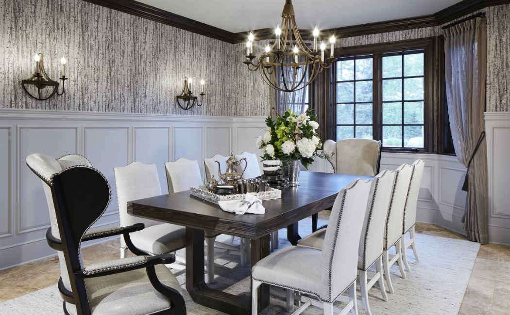 Formal Dining Room With White Studded Chairs