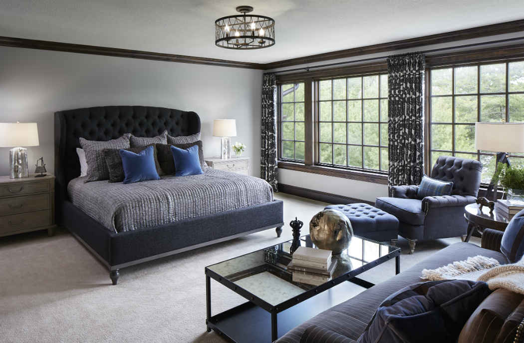 Guest Bedroom With Deep Blue Accents