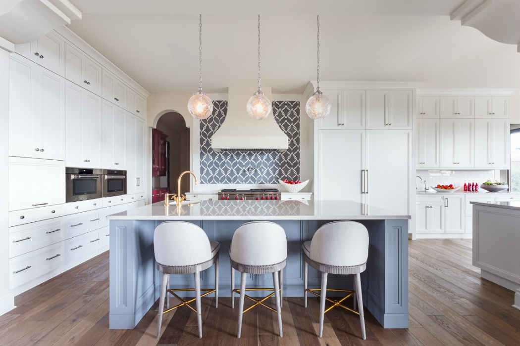 Large White Kitchen With Powder Blue Island
