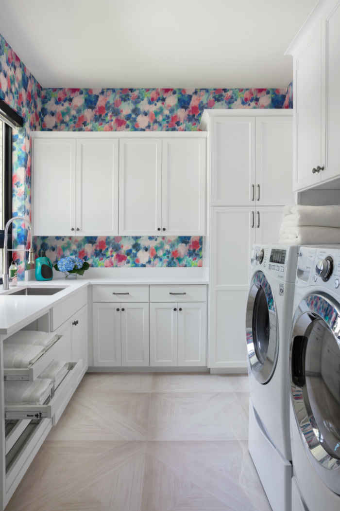 Laundry Room With Colorful Wallpaper