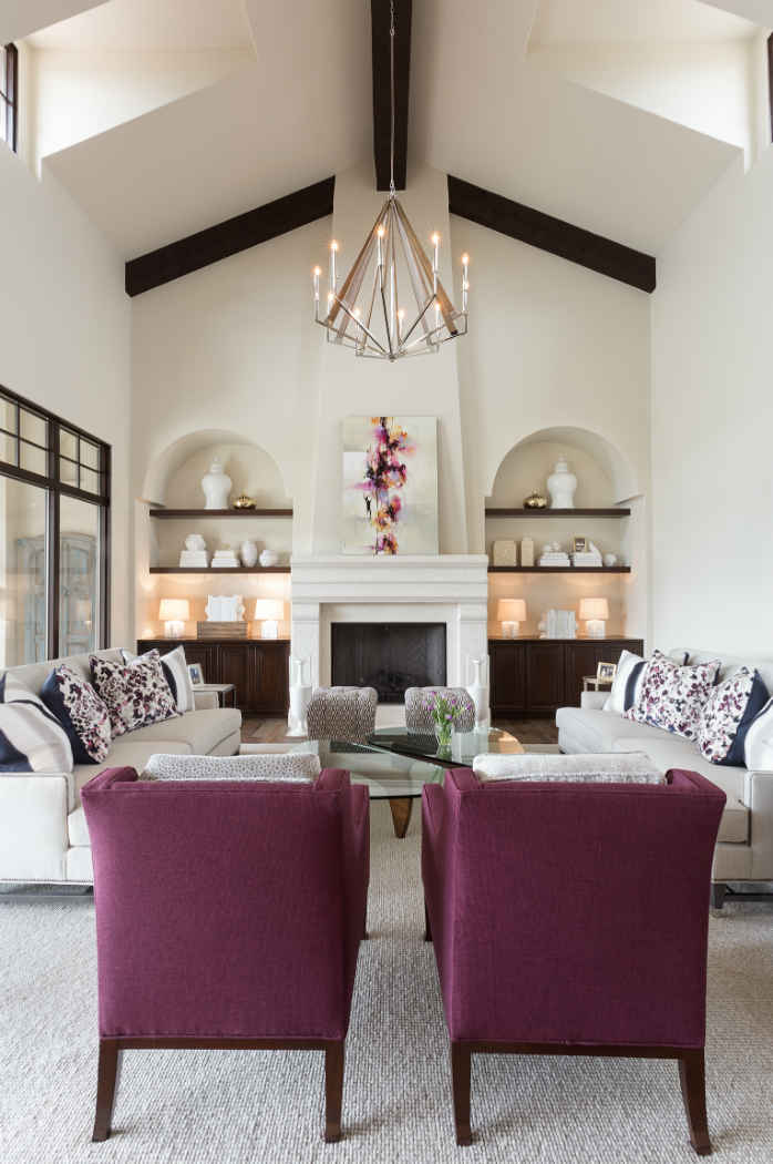 Living Room With Fuschia Chairs