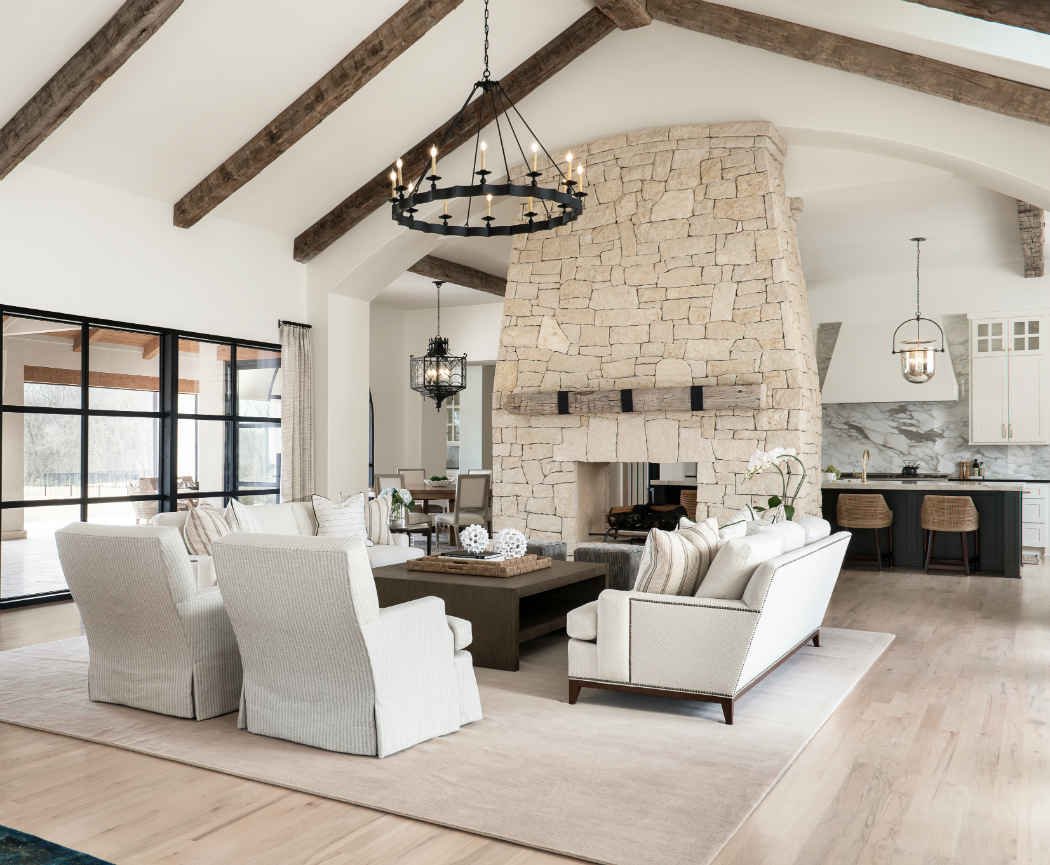 Living Room With Grand Stone Fireplace
