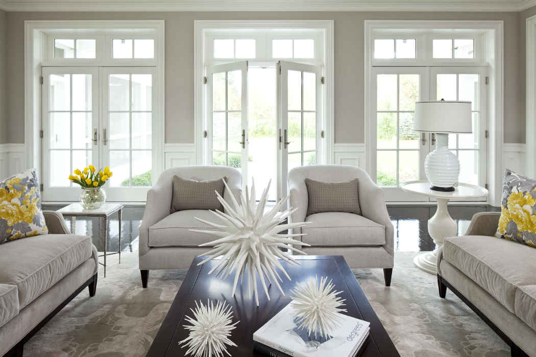 Living Room With White French Doors