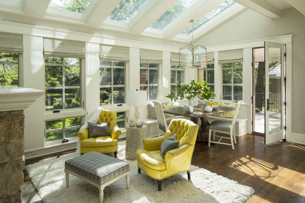Neutral Sunroom Interior Design Minneapolis Mn