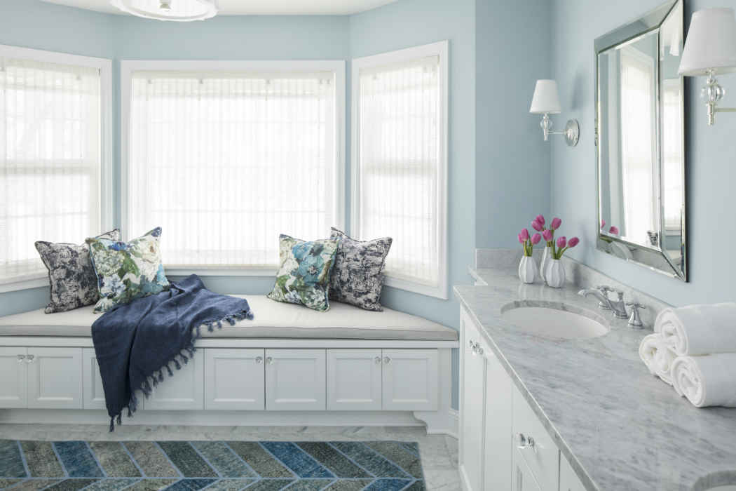 Pale Blue Bathroom With Bay Window
