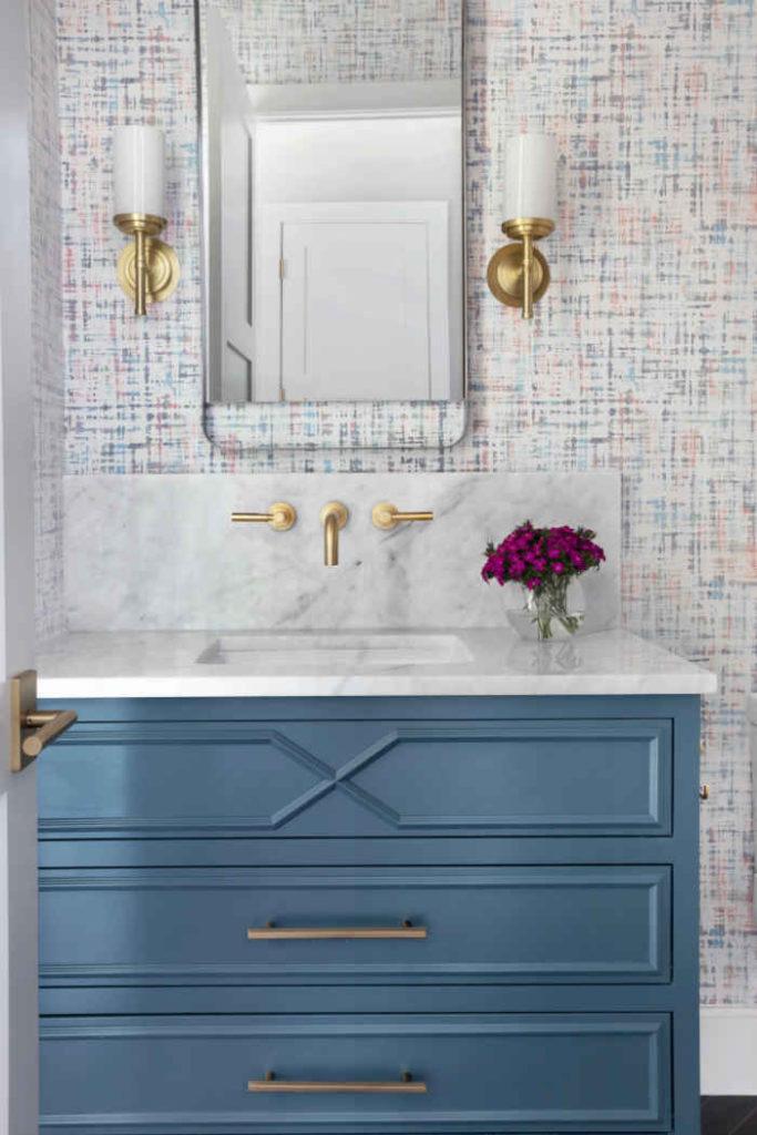 Powder Room With Blue Vanity 3