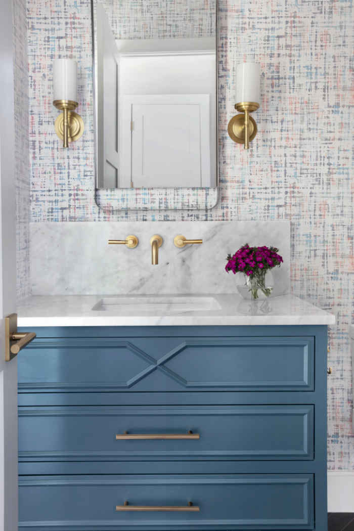 Powder Room With Blue Vanity