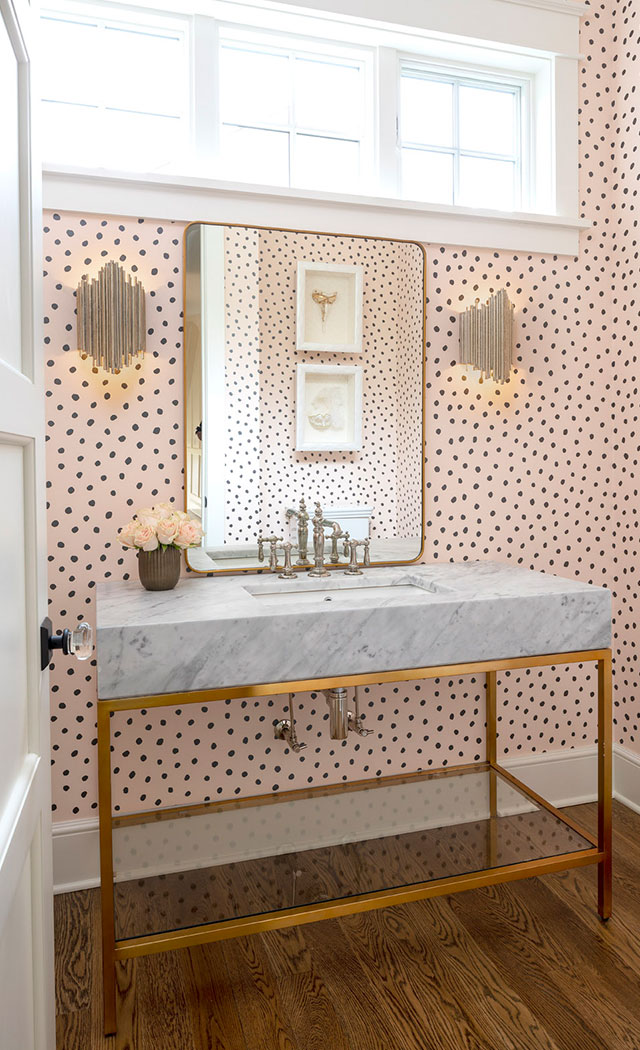 Powder Room With Polka Dot Wallpaper