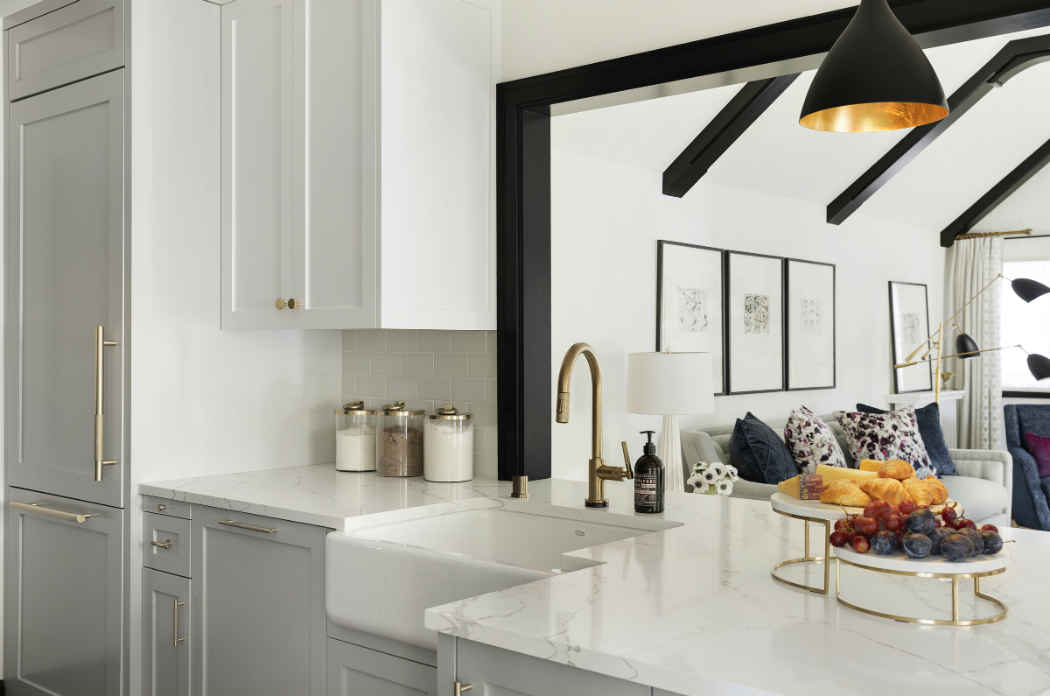 White Kitchen With Brass Finishes